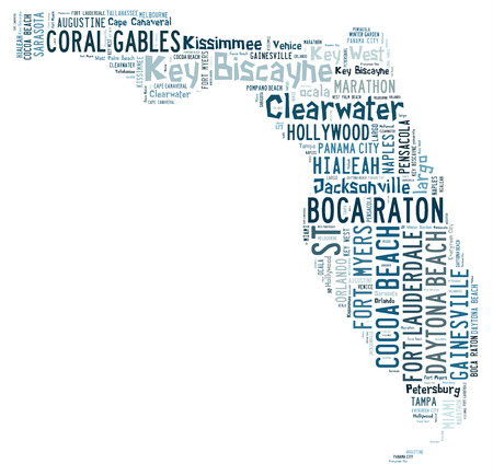 florida state: Word cloud in the shape of Florida showing cities in Florida