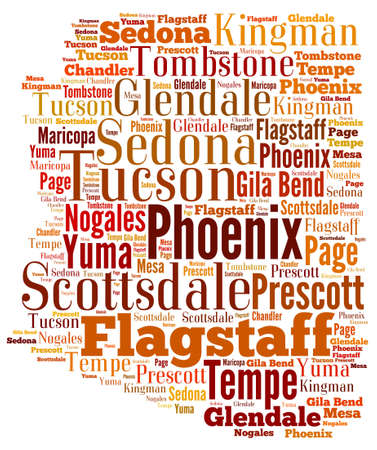 tucson: Word Cloud in the shape of Arizona showing some of the cities in the state