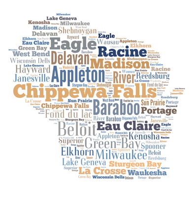 milwaukee: Word Cloud in the shape of Wisconsin showing some of the cities in the state Stock Photo
