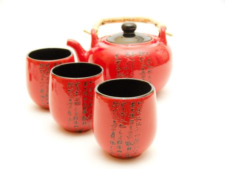 east espresso: Red Chinese teapot with cups  Stock Photo