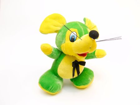 Childrens soft toy as green baby mouse photo