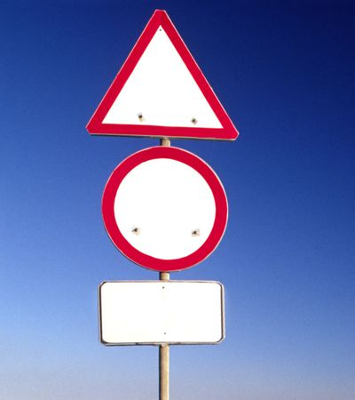 polarization: clean road-signs Stock Photo