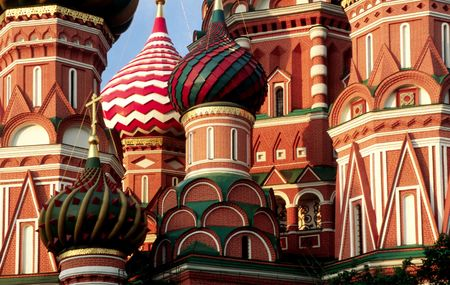 eclecticism: Cupola of st.basil Cathedral at Morning. Moscow, Russia-2