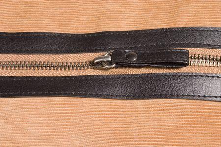 backstitch: zip on the velveteen Stock Photo