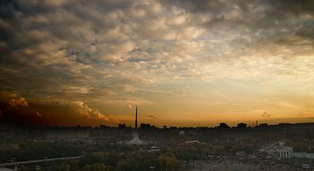 The top view on evening city (Moscow, Russia) photo