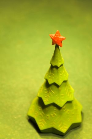 billiards tables: green christmas tree with a red star on top on a billiard table