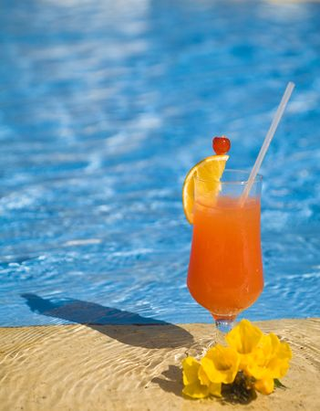 orange cocktail stands on edge of pool near a yellow flower