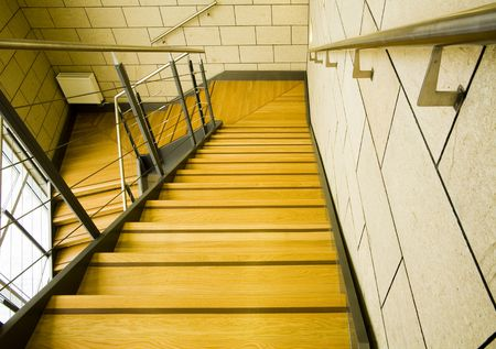 modern wood and steel staircase Stock Photo