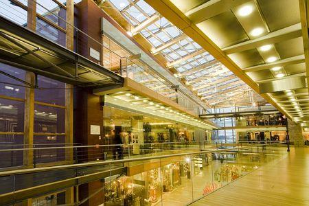 interior of a multi-level trade-center.