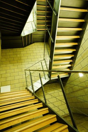 wood staircase in a modern office building