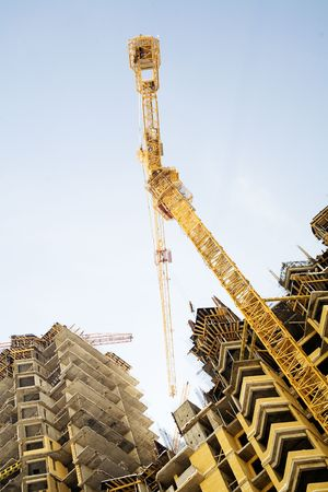 Construction of a building at good weather Stock Photo