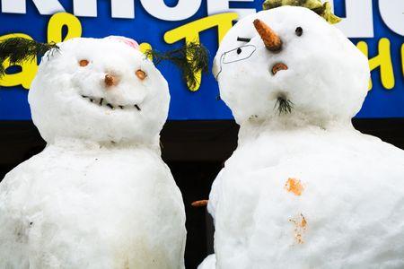 two amusing snow-mans Stock Photo - 776680