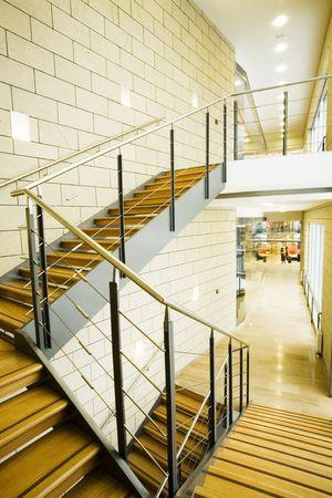 interior of a trade center with a staircase