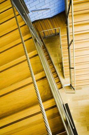 modern wood and steel staircase photo