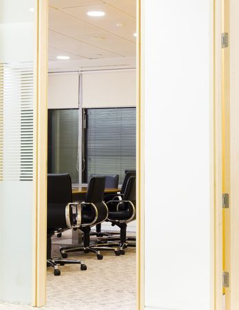 appearance: appearance of a meeting room through the door Stock Photo