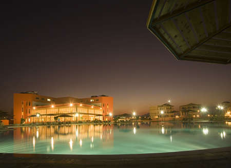 Night view on hotel and swimming pool Editorial