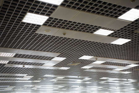 celling: office celling with a lot of lamps