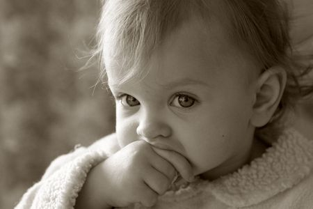 Portrait of a little baby in sepia Stock Photo - 370291