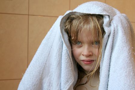 Little girl and towel photo
