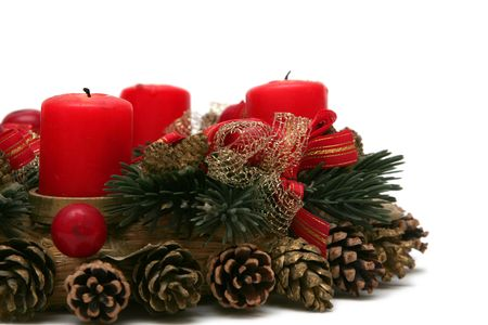 decorations wreaths: Red advent wreath on a white background Stock Photo