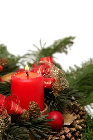 christmas wreaths: Red advent wreath on a white background Stock Photo