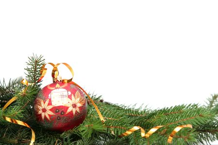 Red christmas bulb decorated with white candle Stock Photo - 666804