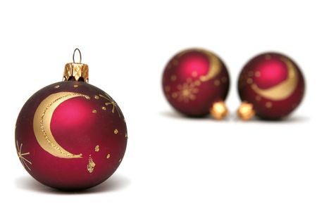 Red decorated christmas bulbs on a white background Stock Photo - 666808