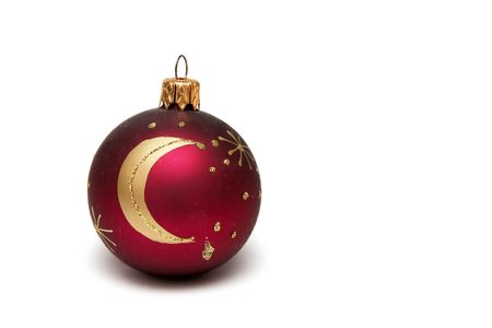 Red decorated christmas bulbs on a white background Stock Photo - 666809