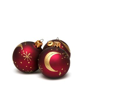 Red decorated christmas bulbs on a white background Stock Photo - 666810