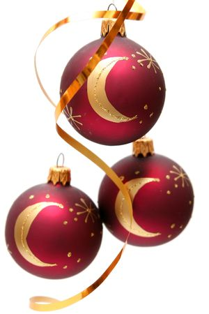 Red decorated christmas bulbs on a white background photo