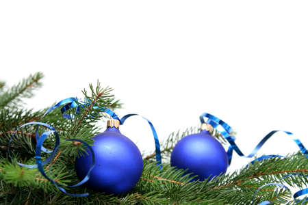Blue christmas bulbs on a white background Stock Photo - 667982