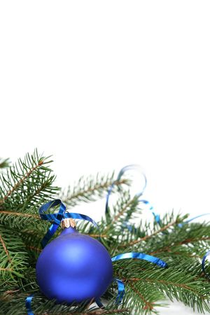 Blue christmas bulbs on a white background photo