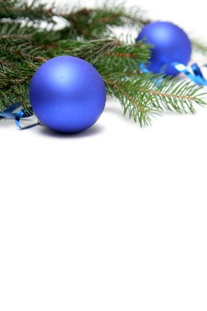 Blue christmas bulbs on a white background Stock Photo - 667935