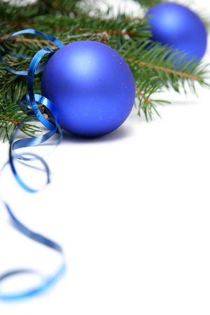 Blue christmas bulbs on a white background Stock Photo - 667934