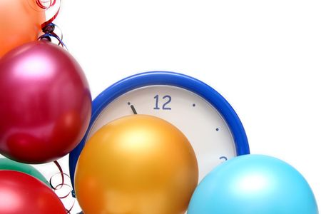 Colorful balloons and clock on a white background Stock Photo - 675719