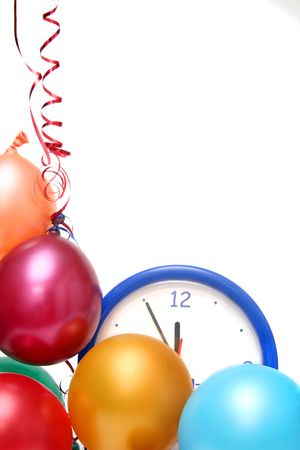 Colorful balloons and clock on a white background photo