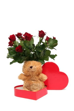 Teddy bear with red roses on a white background photo