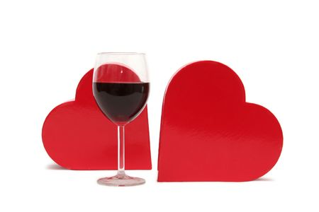Red heart and glass of wine on a white background Stock Photo - 703477