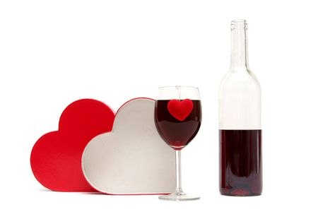 Red heart and glass of wine on a white background Stock Photo - 703471