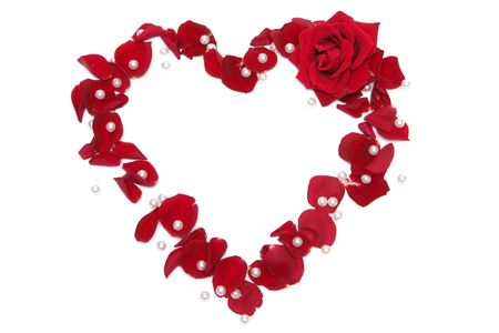 Heart made of red rose petals on a white background photo