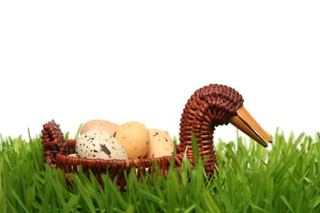 Spotted easter eggs on a white background Stock Photo - 799798