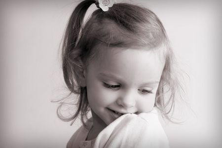 Portrait of a little  girl. Black and white