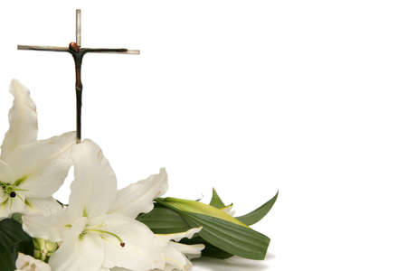 easter sunday: Cross and white easter lilies on a white background