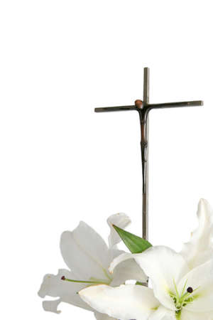 christian faith: Cross and white easter lilies on a white background