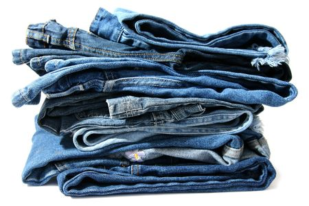 denim jeans: Trausers made of blue denim jeans on a white background