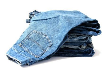 garb: Trausers made of blue denim jeans on a white background