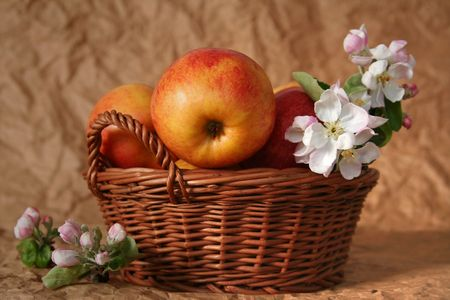 Apples and apple-tree flowers on a beige background Stock Photo