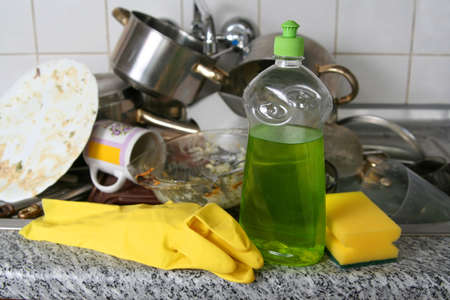 Pile of dirty dishes in the metal sink Stock Photo - 941980