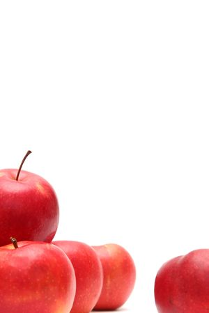 Red fresh apples on a white background