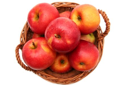 pome: apple, apples, fruit, food, diet, fresh, healthy, red, nutrition, delicious, eat, garden, ingredient, harvest, autumn, agriculture, juicy, nutrient, vitamin, taste, pome, fall, vitamins, basket, baskets, wicker,  Stock Photo